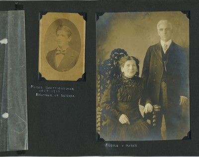 Moses Boettigheimer, Nathan's maternal uncle, as a young man on the left, and Moses and Flora on the right as adults and a married couple.