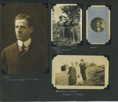 The Boettigheimer's son, Fred, as a grown man on the left. Flora as an old woman with her two grown daughters, Harriet and Sadie, in the center. Moses as an old man on the right, and Harriet and Sadie at the bottom with Nathan Bernstein's mother.