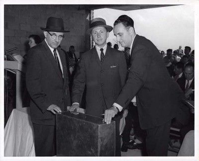 Hymen Saye, Dr. Leonard Wallenstein, and Harold Hammer laying the cornerstone at Chizuk Amuno, 1957.  Courtesy of Hymen Saye. 1991.7.2