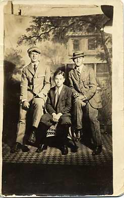 Black and white photo postcard with Edward Rosenfeld, center, and two other boys, n.d. Courtesy of Licien Harris. 1998.147.4.11