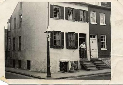 Edward Rosenfeld in doorway of house on Tyson Street in Baltimore, n.d. Courtesy of Licien and Barr Harris. 2000.134.3