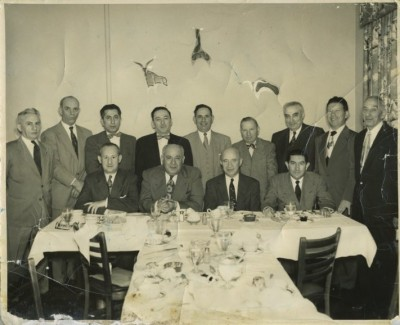 Jewish Legion veterans reunion, c. 1950  Identified are Abraham Shapiro, third from left in back row, William Braiterman, fourth from left in back row, and Julius Sussman, third from left in front row. Courtesy of Erich and Thelma Oppenheim. 1994.38.5