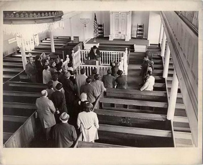 Dedication ceremony of the restored Lloyd Street Synagogue, November 8, 1964. Courtesy of Janet Fishbein (daughter of Susan Levy Bodenheimer), Ellen Patz, Ruth Gottesman & Vera Mendelsohn Mitnick. 2002.79.931.