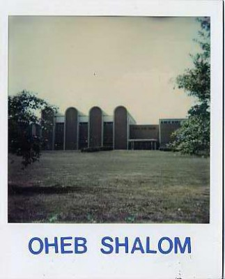 Polaroid of the exterior of Oheb Shalom, c. 1980.  Photograph by Paul Schlossberg.  1984.24.40