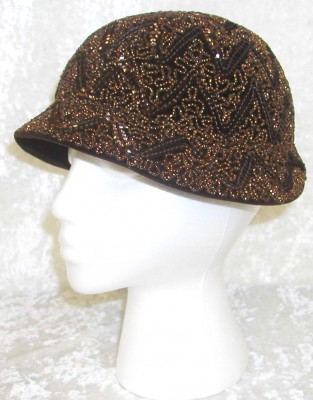 c. 1930's Brown felt cloche-style hat.  Courtesy of Sophie Dopkin. 1987.124.4