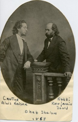 (left) Cantor Alois Kaiser and (right) Rabbi Benjamin Szold, taken at the Oheb Shalom Synagogue in 1868.  1989.79.74