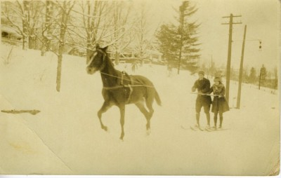 Horse drawn skiing. Courtesy of M. Peter and Elizabeth K. Moser. 2009.26.199