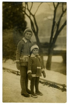 Erich and Heinz Beissinger standing in a road in winter attire, January 1922.  Courtesy of Claire Beissinger. 2011.4.143