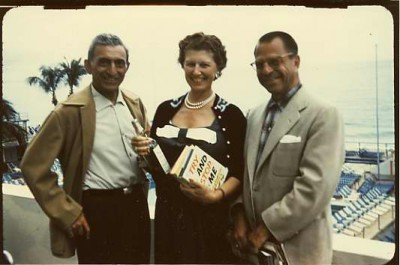 Photograph of Mr. and Mrs. Berney B. Katzenberg with Harry Greenstein in Miami Beach, FL, Feb. 1956. Courtesy of Mrs. Samuel Bloc. 1971.020.258.
