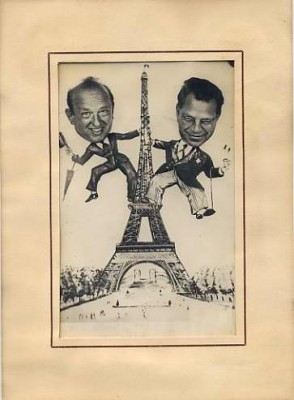 Photograph of Louis Shecter and Harry Greenstein in a drawing of the Eiffel Tower, 1953. Courtesy of Louis E. Shecter. 1974.021.002