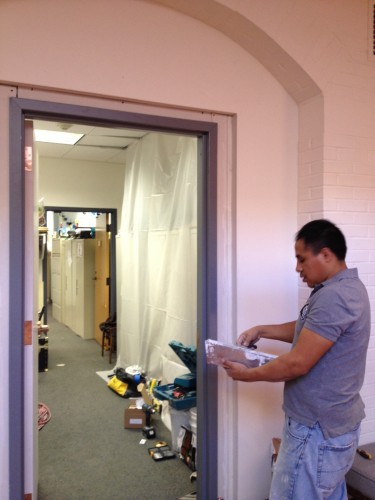 Installed a door between our lobby and our education & programming offices...