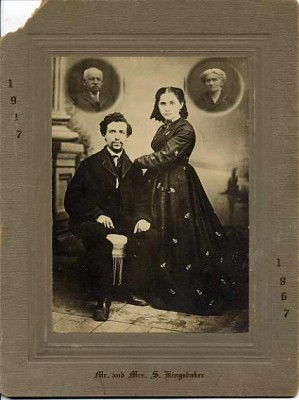 Mr. and Mrs. Solomon (or Samuel) Kingsbaker, 1867.  Cameo portraits in the upper left and right corners were inserted on the couple's 50th Anniversary in 1917.  The Kingsbakers were from Frederick, MD.  Courtesy of Paul and Rita Gordon. 1995.104.64