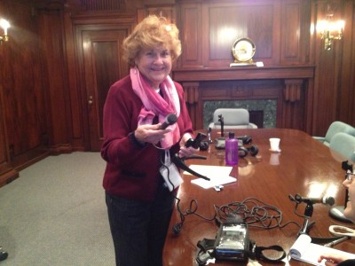 Esther Weiner practices how to properly use the digital recording equipment.