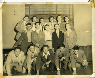 Around sixteen years later: Rambam Chapter of the AZA, northwest Baltimore. Even in this Zionist group, all but two of the identified boys had popular Americanized names. Back row: second from left, Irv Bowers, right end, Marvin Glass. Middle row: second from left, Al Blaker, center, Bernie Raynor. Bottom row: left end, Avrum Miller, right end, Hanan Sibel. 2008.117.1