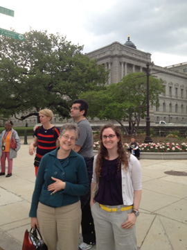 Karen Falk and Tessa Sobol of the Textile Museum outside the Library of Congress.