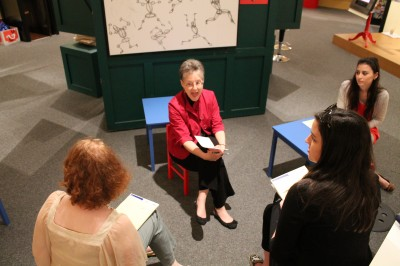 Discussing exhibitions with Curator Karen Falk.