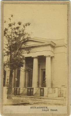 Lloyd Street Synagogue, home of Baltimore Hebrew Congregation in 1864. Photo by D.R. Stiltz & Co. photographers. Used with permission from Ross Kelbaugh. JMM 1997.71.1