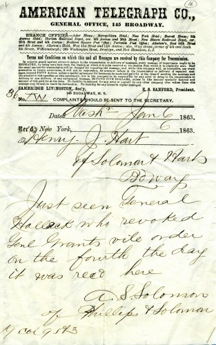 Telegram announcing the revocation of Grant's General Orders No. 11, January 6, 1863. Courtesy of the American Jewish Historical Society.