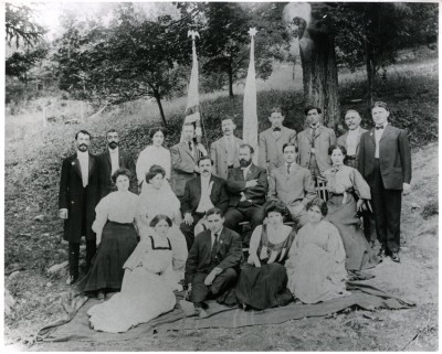 Baltimore People at Zionist Conference. Tannersville, New York - 1906 or 1907. Harry Friedenwald is located in the center of the middle row.