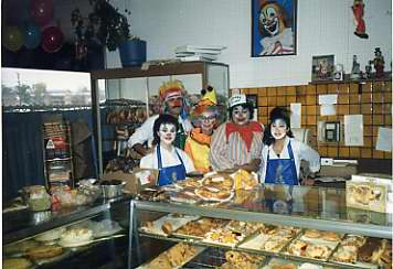 Costumes behind the counter at Caplan's Delly!