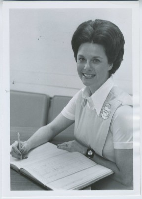 Carole Fradkin, President of the Ladies' Auxiliary of Levindale in 1976