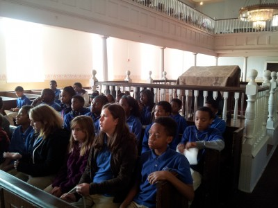 6th grade students learning about the historic Lloyd Street Synagogue (Photo courtesy of Mr. Kaiser).