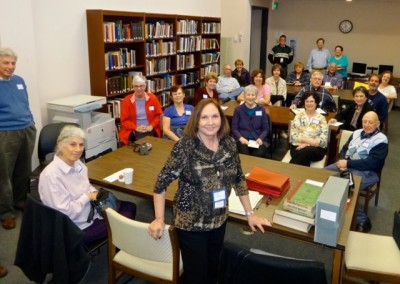 Edie speaking to a group from the Jewish Genealogical Society of MD.