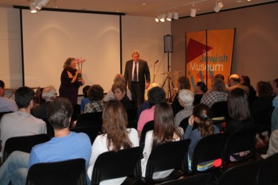 After the performance: Bessie, performed by Terry Nicholetti and the museum's director Marvin Pinkert.