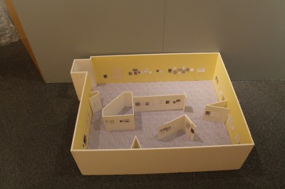 "A scale model of the gallery allowed Karen and Mark to ""hang"" the exhibition before the artifacts arrived on site."