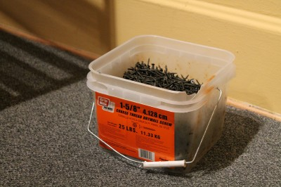 Rachel captured the artistic side of a bucket of screws that was on hand to install the walls and cases.