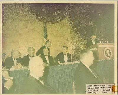 Anti-Defamation League Award Dinner for President John F. Kennedy, seated at the main table, in Washington, D.C. January 31, 1963. Photo by Cecil Stoughton.
