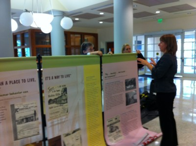 Here we are installing the exhibit at its first venue in Hodson Hall at Johns Hopkins University. From there, it traveled to several suburban synagogues, the Owings Mills JCC, the main branch of the Enoch Pratt Library and the Edward A. Myerberg Center.
