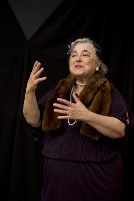 Actor Terry Nicholetti performing as Bessie Bluefeld