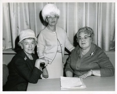 Double trouble!  Two out of three women have been identified with conflicting names. Left to Right: 1. Nan Rothhultz 2. Dottie Levin OR Reba (Rebecca) Cohen 3. Lucille Colliver OR Laura Rubin Lafferman