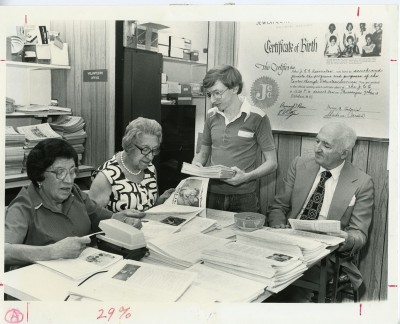 The JCC volunteers were on a first-name basis. Left to Right: 1. Esther Pugauski  2. Gertrude Deitz 3. Lee (last name not provided)   4. Sam (last name not provided)