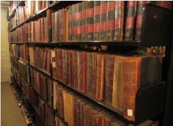 Library stacks of the MedChi archives. Image courtesy of MedChi; photograph by Meg Fielding