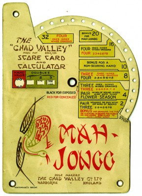 Score card for mah jongg, c. 1923. Courtesy the Museum of Jewish Heritage — A Living Memorial to the Holocaust