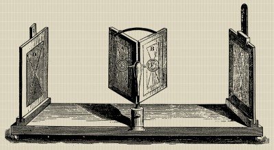 The first stereoscope was invented by Sir Charles Wheatstone in 1838. Image via.