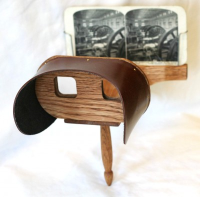 The Stereoscope that you may be more familiar with and the two that we have in our exhibit  Passages Through the Fire Jews and the Civil War look more like this one.  Image via.