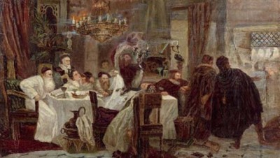 Marranos: Secret Seder in Spain during the times of inquisition, painting by Moshe Maimon. Image via wikipedia.