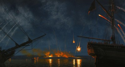 "Painting, ""Bombardment of Fort McHenry"" by Peter Rindlisbacher, Courtesy of the artist."