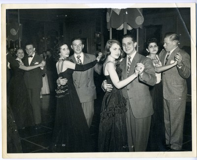 A great TBT photo! Black and white photo of a Tau Beta Sigma sorority dance at Hotel Sterling. 1984.211.037
