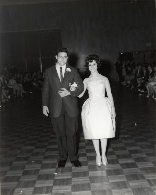 Unidentified couple being introduced at the AZA Sweetheart dance, 1964. 1995.128.001.026.004