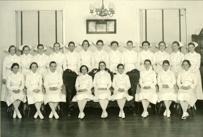 Daisy D. Carawan (Mrs. Barnett) is in the photograph of the 1937 graduating class of the Sinai Hospital School of Nursing. 2010.020.070