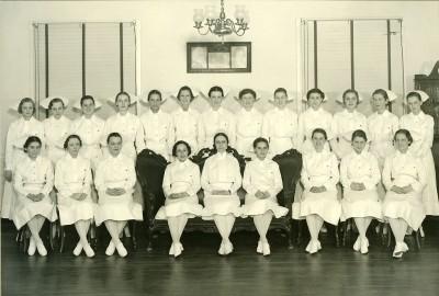Daisy D. Carawan (Mrs. Barnett) is in the photograph of the 1937 graduating class of the Sinai Hospital School of Nursing. 2010.020.070