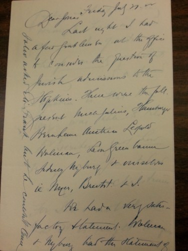 Harry's July 21, 1922 letter to Jonas describing quotas at Hopkins.  One of the most difficult aspects of my research has been deciphering Harry's handwriting!