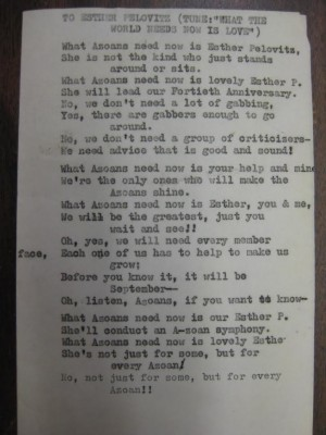 The Azoans were notorious rhymers. Attached is a song dedicated to Esther Pelovitz. Courtesy of the Kramer-Labovitz Collection, accession #2000.144.30