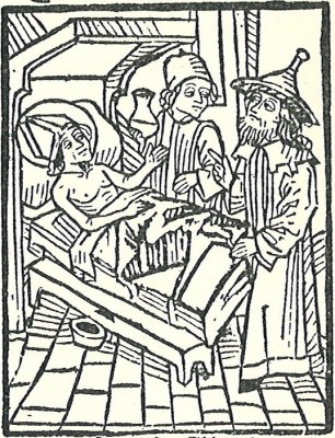 The Jewish physician is shown in 15th century German clothing, including distinctive headwear.