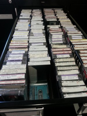 The Jewish Museum of Maryland is home to hundreds of oral histories.  Those histories that have not yet been digitized or transcribed are kept in audiocassette form and organized in filing cabinets.