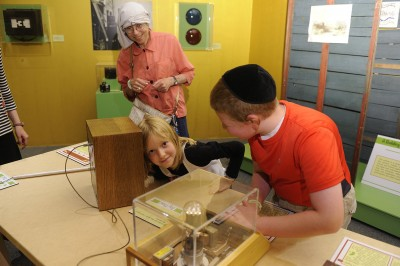 Checking out the interactives on loan from the National Electronics Museum.